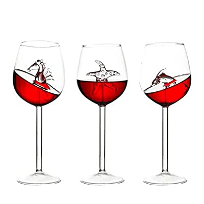 2PC Home The Original Shark Red Wine Glass, Mingfa Wine Bottle Crystal Goblet Glass for Party Flutes Glass Wine Cup Red Or White Wine Champagne (clear, 3PCs)