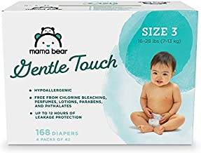 Amazon Brand - Mama Bear Gentle Touch Diapers, Hypoallergenic, Size 3, 168 Count (4 packs of 42)