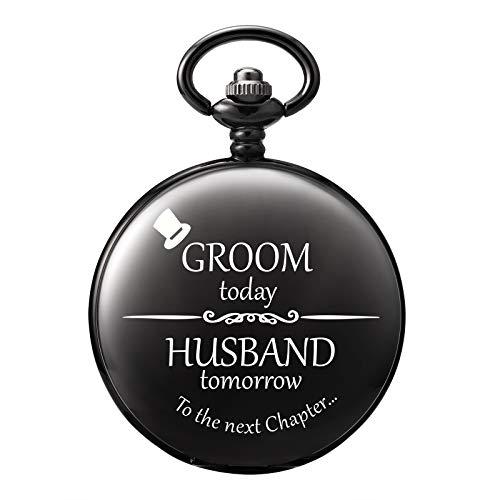 TREEWETO Taschenuhr - Personalisiert Graviert Für Groomsman Mann Taschenuhr Quarz Fobwatch - Bräutigam Geschenke Für Hochzeit   Trauzeuge Geschenke Hochzeitsgeschenk