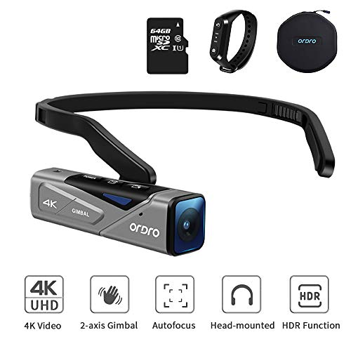ORDRO EP7 Camcorder 4K FPV Vlog Videokamera 4K 30FPS WiFi Mini Body Camera Recorder mit Integriertem Kardanischen Stabilisator, Autofokus, Fernbedienung, Tragetasche und 64 GB MicroSD-Karte