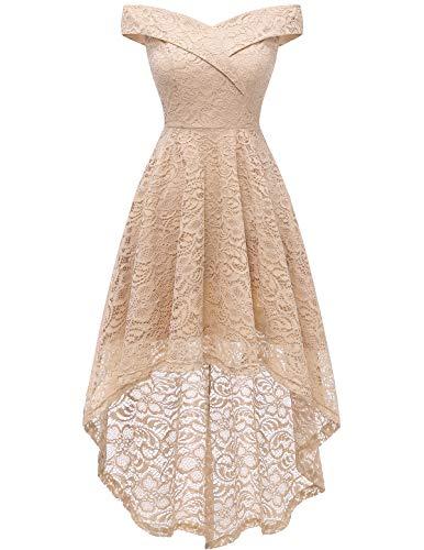 HomRain Damen Elegant Spitzenkleid Schulterfrei Rockabilly Kleid Vokuhila Schwingen Cocktail Abendkleider Brautjungfernkleider für Hochzeit Champagne L