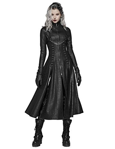 Punk Rave Manteau long gothique pour femme avec fermeture éclair double tête Style steampunk Noir - Noir - X-Small