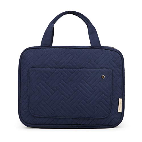 BAGSMART Toiletry Bag Large Hanging Travel Wash Bag Womens Cosmetic Bag for Full Sized Container (Large-Blue)