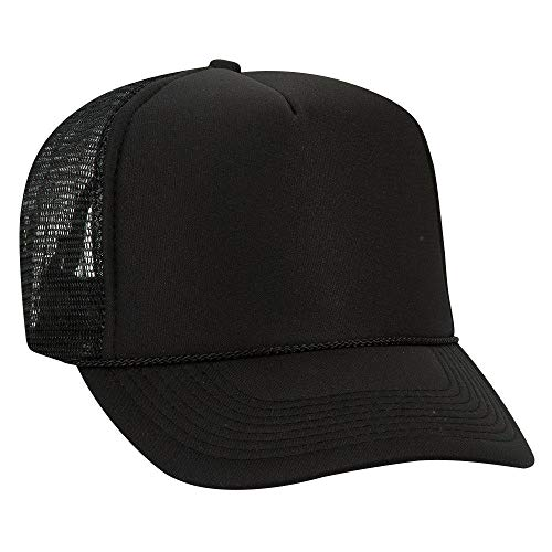 Otto Polyester Foam Front 5 Panel High Crown Mesh Back Trucker Hat - Black
