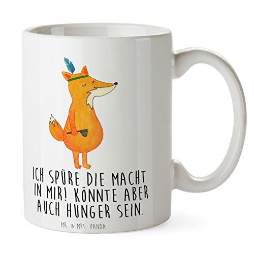 Mr. & Mrs. Panda Kaffeetasse, Becher, Tasse Fuchs Indianer mit Spruch - Farbe Weiß