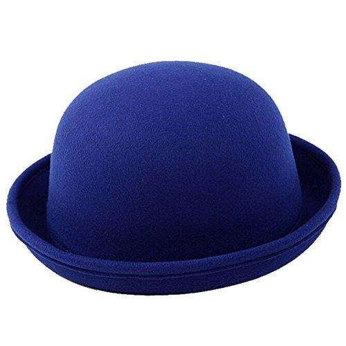 Fletion Femmes Enfants Hiver Laine Feutre rouleau Brim Billycock Cloche Bucket Bowler Derby Fedora Hat(Bleu)