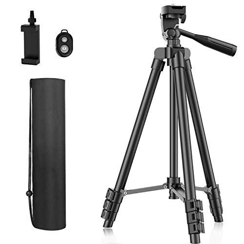 Phone Tripod, 51 Extendable Travel Lightweight Tripod Stand with Carrying Bag, Universal Tripod with Bluetooth Remote, Cell Phone Mount for Phone Xs/Xs Max/Xr/X/8/8 Plus/Samsung/Huawei Phone,Camera