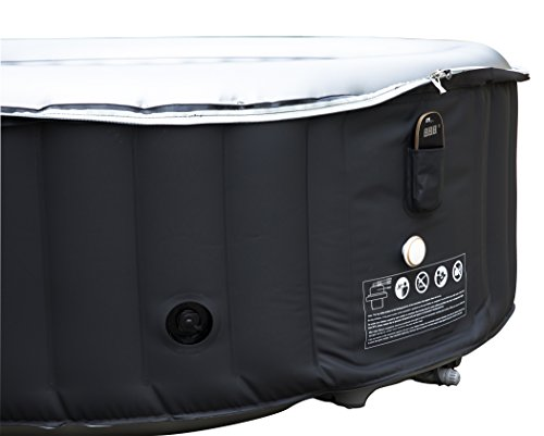 MSpa Silver Cloud 2019 Edition Luxury Portable Inflatable Quick Heating Round Hot Tub Spa Indoor/Outdoor Bubble Jacuzzi plus Heat Insulation Mat and Inflatable Bladder Heat Lid, Up to 4 Persons