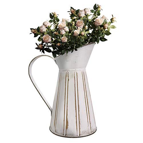 Soyizom Jarrón rústico Shabby chic de metal francés para leche, jarrón decorativo de granja de campo, jarra de riego de lata primitiva para baño, dormitorio, decoración de cocina, jarra blanca