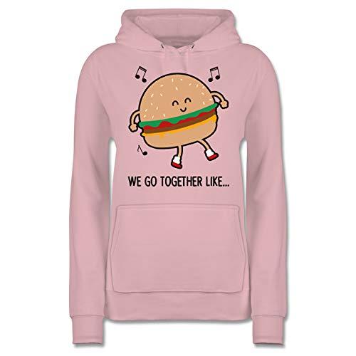 Karneval & Fasching - We go Together Like. Burger - S - Hellrosa - Spruch - JH001F - Damen Hoodie und Kapuzenpullover für Frauen