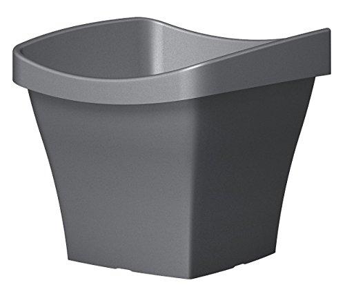 Scheurich 54237 261/50 Saluto Square Garden Flower Pot in plastica Metallizzata Grigio 50 x 50 x 44 cm