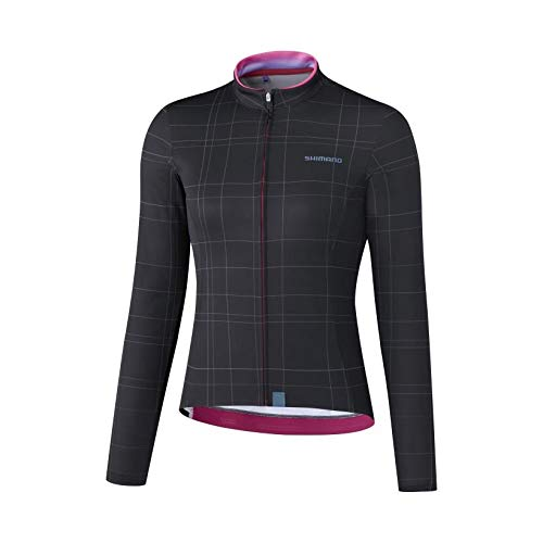 SHIMANO Maillot SH W M/L Kaede Negro T-S Camiseta, Mujer