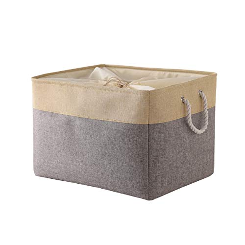 Random Color Jumbo Basket Decorative Storage Basket Rectangular Fabric Storage Bin Organizer Basket with Handles for Clothes Storage Grey Patchwork OR Grey Color 205L×157W×138H