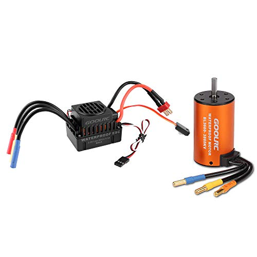 GoolRC Waterproof Brushless Motor 3660 3800KV, 60A ESC Combo Set for 1/10 RC Car Truck
