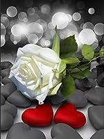 ダイヤモンドの絵画 5Ddiyダイヤモンド絵画ローズフルスクエアダイヤモンド刺繡花黒と白のモザイクラインストーン家の装飾ギフト