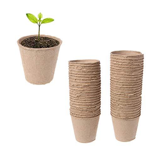 Xuniu 50 Stücke Runde Biologisch Abbaubare Papiermasse Torf Töpfe Pflanze Kindergarten Tasse Tablett Garten (8x8 cm)