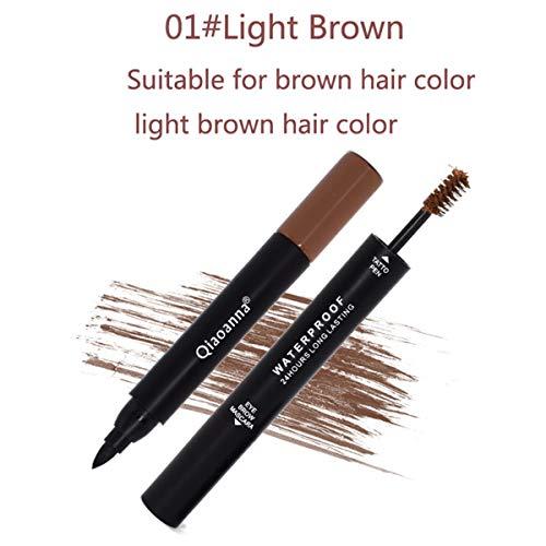 Mascara 2-en-1 pour les sourcils et le traceur pour les yeux, à base d'eau et de longue durée (Color : Light Brown)