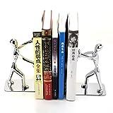 YAOLUU Sujetalibros Oficina Creativa artículos de papelería Acero Inoxidable Kung Fu Man sujetalibros 1 par humanoide Estantería de Libros Sujetalibros de Estante