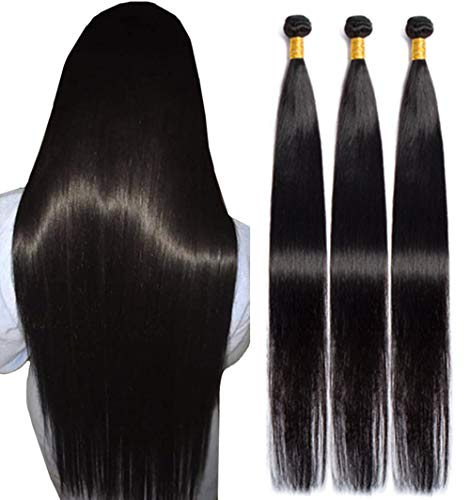 NUOF Straight Human Hair 3 Bundles (30 30 30 Inches) 9A 100% Virgin Brazilian Hair Bundle Straight Weave Hair Human Bundles Unprocessed Remy Hair Natural Color