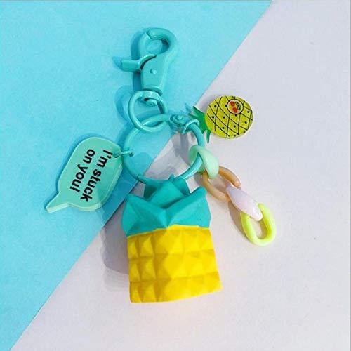 UDBOK Schlüsselbund Kreative Neue Simulation Obst Avocado Banane Wassermelone Schlüsselbund Mode Schlüsselanhänger Schmuck Geschenk Für Frauen Mädchen Autotasche Schlüsselanhänger, Ananas