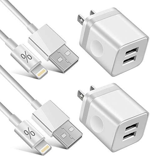 LUOSIKE iPhone Charger 10 ft Cable with Wall Plug (4 Pack), Dual USB Wall Charger Block with 2X10 Foot Long Charging Cord Compatible with iPhone 11/11 Pro/11 Pro Max/Xs/Xs Max/XR/X 8/7/6/6S Plus, iPad