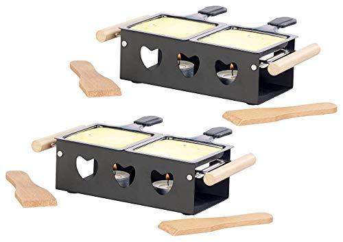 Rosenstein & Söhne Raclette-Ofen: 2er-Set Teelicht-Raclette für 2 Personen, mit Schabern und Teelichtern (Duo-Raclette)