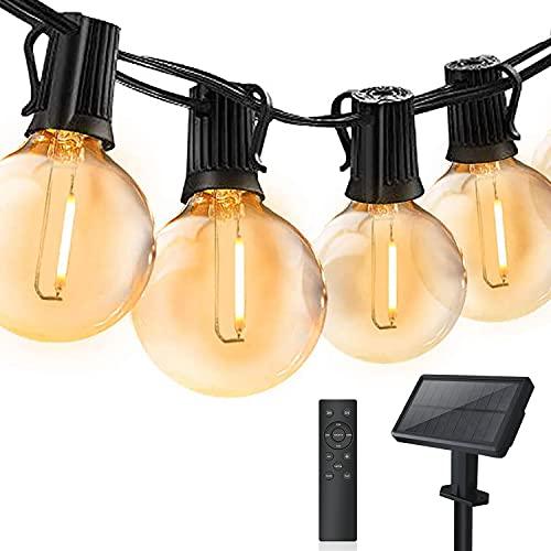 Guirnaldas Luces Exterior Solar con Control Remoto, Bomcosy 7,64M Guirnalda Luces Regulable, Cadena de Luz regulables, IP44 Impermeable Luces Decoración para Garden, Jardín, Terraza