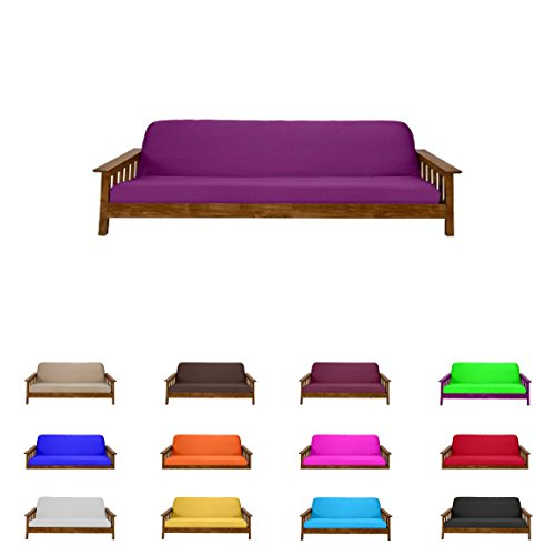 "Futon Mattress Cover Solid Color Choose Color and Size Twin Full Queen (Full (6""x54""x75""), Purple)"