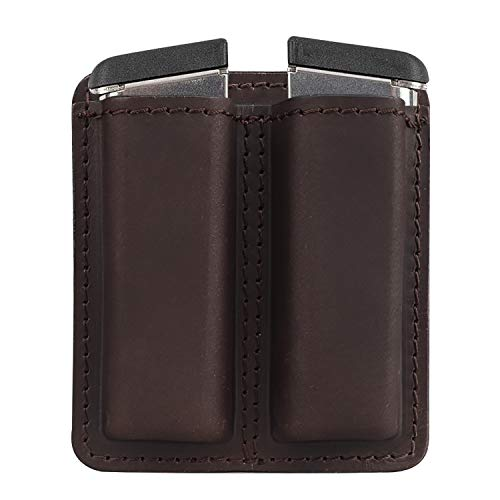 Kosibate Leather Magazine Holder, Tactical Mag Holster Fits for 9mm .40 .45 Glock 17 19 Sig P320 1911 Pouch, Double Stack, IWB or OWB