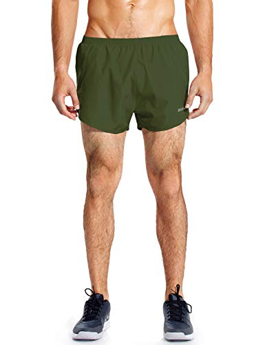 BALEAF Men's Quick-Dry Lightweight Pace Running Shorts with Inner Pocket Army Green S
