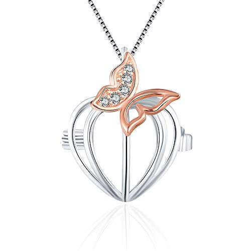 Cerylle 925 Sterling Silver Pink Butterfly Cage Pendants for Pearl, Pearl Cages for Pearl DIY Jewelry Making