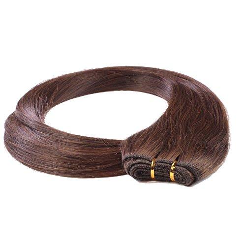 hair2heart Tresse / Weft aus Echthaar, 100g, 70cm, glatt - Farbe 4 braun