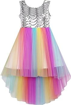 HJ41 Girls Dress Sequin Mesh Party Wedding Princess Rainbow Tulle Size 7