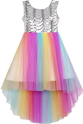 HJ41 Girls Dress Sequin Mesh Party Wedding Princess Rainbow Tulle Size 7
