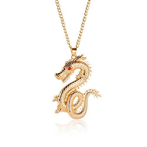MXWY Collar DE Estilo Chino DE LA JOYERÍA del Zodiaco Retro Dragon Flash Taladro