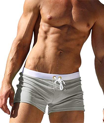 Kfnire Los pantalones cortos, troncos de nadada de secado rápido playa de surf Pantalones cortos de natación Correr para Hombres Light Grey EU XL = Tag XXL