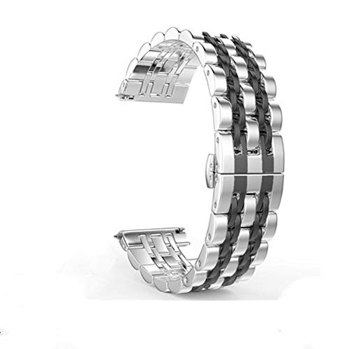 22mm 20 mm banda para Samsung Galaxy Watch 3 41mm 45mm 46mm 42mm pulsera de cinturón de acero inoxidable 1033 (Band Color : Silver black tool, Band Width : 20mm)
