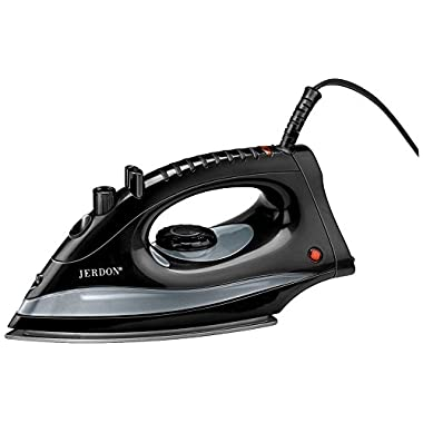 Jerdon J513B Midsize Auto Off Steam and Spray Self-Clean Iron, 36.8 Ounce, Black Finish
