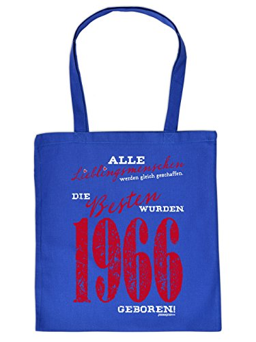 Stofftasche in royalblau - Die Besten wurden 1966 geboren - praktische umweltfreundliche Baumwolltasche als Geschenk für Geburtstagskinder mit Humor