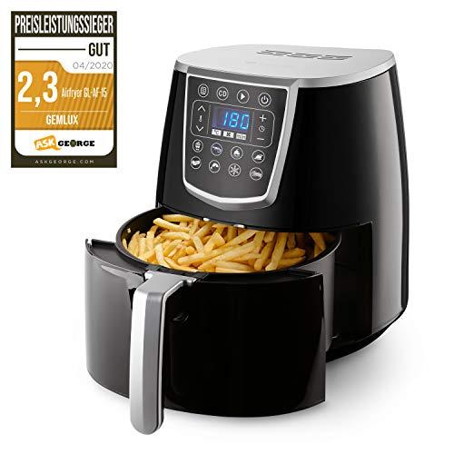 Gemlux Air Fryer 4L XL | Heißluftfritteuse für zu Hause | Multikocher für gesunde Snacks | Tragbar & für professionellen Einsatz geeignet | Für Spülmaschine & Geschirrtrockner geeignet, AF-15