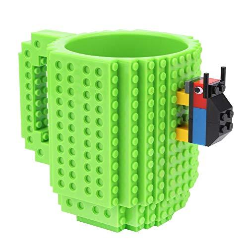 Gowind6 DIY Build-On Brick Mug 350ml Kaffeetasse Kreative Bausteine Tasse Kaffeetasse Teetasse Getränk Weihnachten Geburtstag Festival Geschenk, grün, 13 X 13 X 10cm/5.12 X 5.12 X 3.94