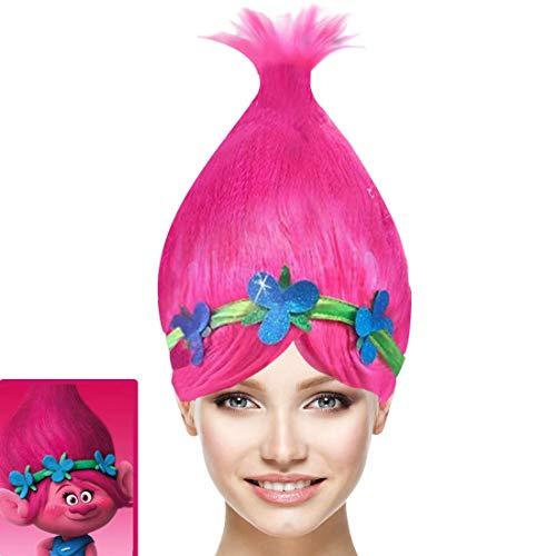Hpparty Poppy Trolls Vrouwen Pruiken, Roze Pointy Princess Troll Pruiken, Cosplay Halloween Kostuum Props voor Volwassen Kinderen