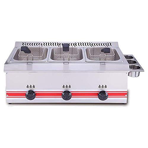 H.aetn Freidora Comercial de 6L con Capacidad para freidora de Gas de un Cilindro/Doble Cilindro Freidora Profunda 60-200 ℃ Control de Temperatura preciso, 18L