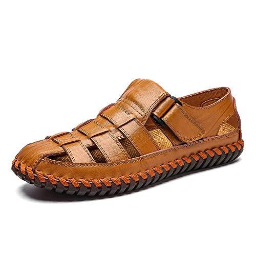 KCCCC Zapatos de Playa para Hombres Sandalias de Diapositivas para Hombres Zapatillas de Playa Interior y al Aire Libre Casual Transpirable (Color : Light Brown, Size : 38)