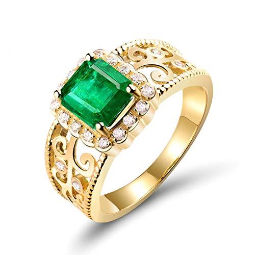 Beydodo Anillo de Compromiso Mujer,Anillo Mujer Oro Amarillo 18 Kilates Oro Verde Rectángulo con Hueco Esmeralda Verde 1.65ct Diamante 0.2ct Talla 25(Circuferencia 65MM)