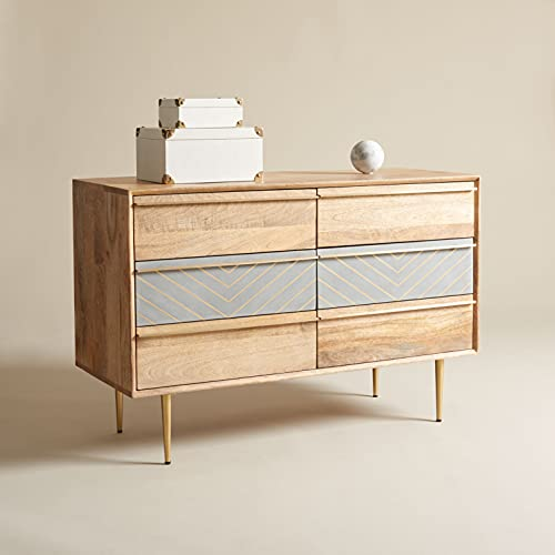 Safavieh Couture Home Collection Leni Cement/Natural 6-Drawer Storage-Living-Room Bedroom Double Dresser SFV5715A