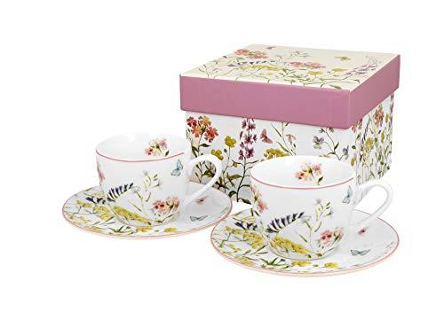 Duo Espressotassen 2er Set Alice 90ml Espresso-Tassen Mokkatassen aus Porzellan Untertassen Unterteller Mokka-Tassen Geschenk Tasse für Kaffee Espresso Mokka Geschenkverpackung Geschenkbox