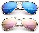 Polarized Kids Teens Juniors Aviator Polarized Sunglasses Stainless Steel Frame Spring Hinge UV Protection