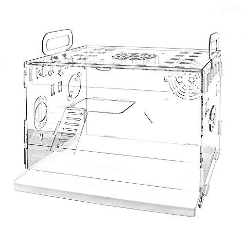 YOKITOMO ハムスターケージ 三代目 まわし車 給水ボトルなど含めて7点セット 透明 組立式 持ち運びやすい トレーデザイン お掃除しやすい 通気穴いっぱい 2階デザイン エコなアクリル製 (単品)