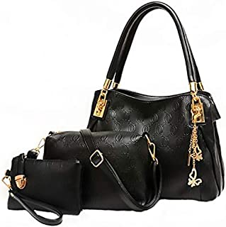 Tote Bag with 2 Pouch Set for Women - Black